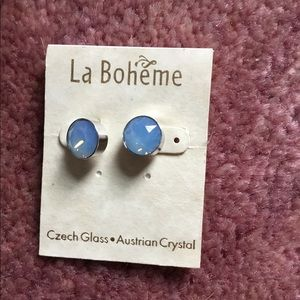 2/$10 Never worn blue Czech crystal studs